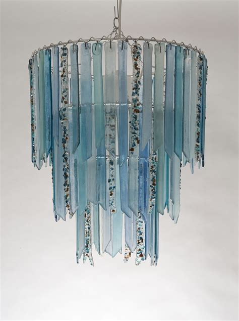Recycled Chandeliers Three Tier Made Recycled Glass Chandelier Commission For Client To Co Ordinate