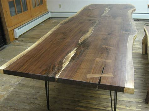 walnut live edge slab table with hairpin legs by texpenn