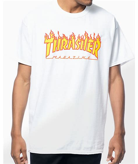 T Shirt Pdp thrasher logo white t shirt at zumiez pdp