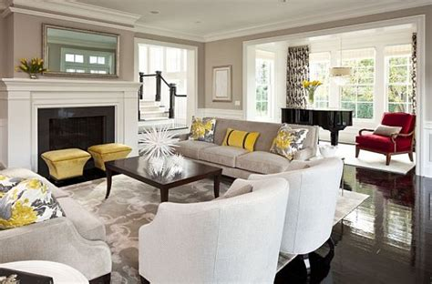 black and white living room design with yellow accessories