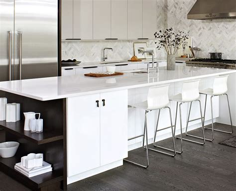 white kitchen island with open shelves decoist