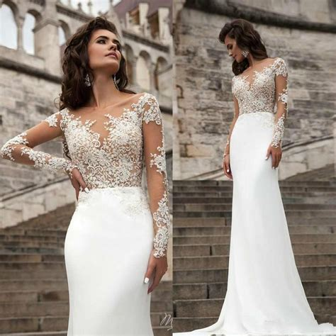 lace sheer wedding gowns 2016 wedding dresses sheer neck sleeve lace