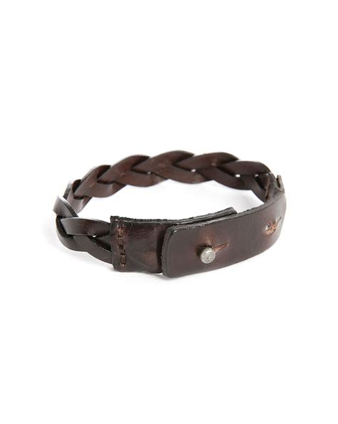 Woven Leather Bangle by Jones Brown Woven Leather Bracelet In Brown