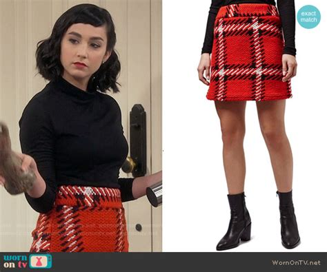 wornontv mandys red checked skirt  black turtleneck