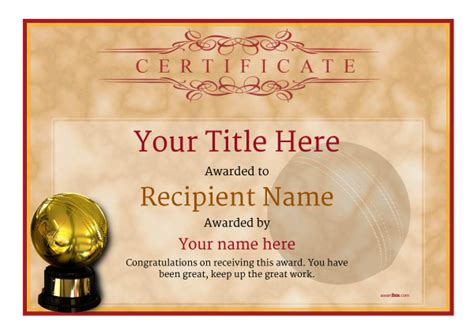 cricket certificate templates free cricket certificates free certificate templates