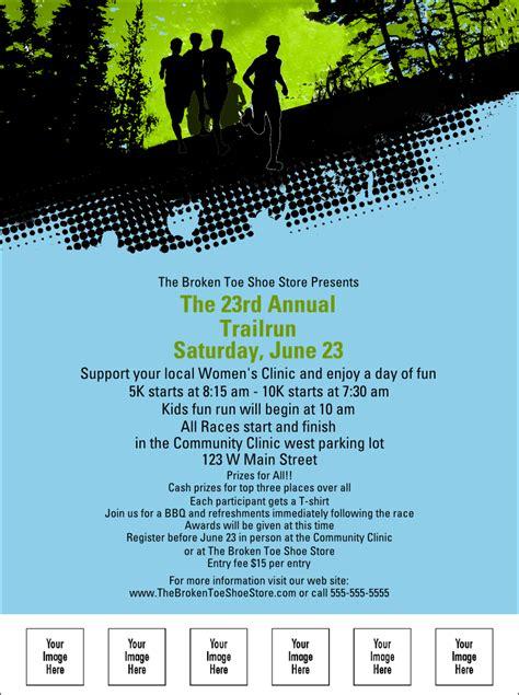 running flyer template trail running race flyer