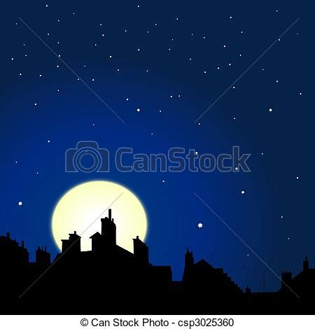 Cityscape Curtains Stock Illustration Of Rooftops Night View Village