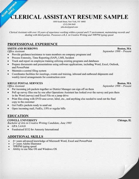 Clerical Resume Templates by Clerical Assistant Resume Exle Resumecompanion