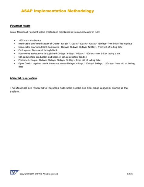 Sle Letter Revoking Credit Terms Sap Sd Business Blue Print E1 Sales Template