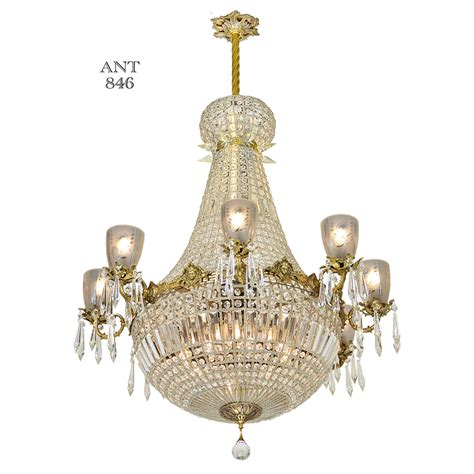 Ballroom Chandeliers Vintage Chandelier Large Ballroom Prism Ceiling Light Fixture Ant 846 For Sale