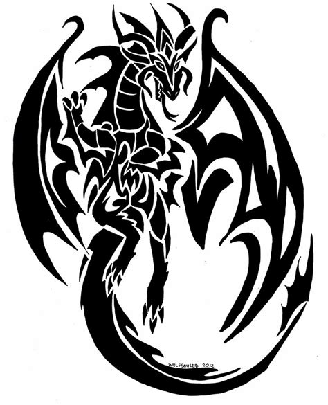 dragon tribal tattoo commision by wolfsouled on deviantart