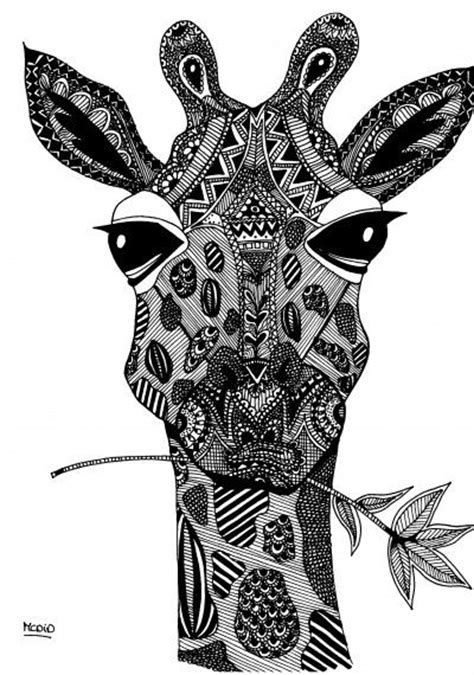 zentangle giraffe coloring pages free coloring page for adults giraf with doodles