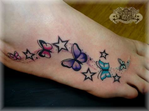 Tattoo Butterfly And Stars | 25 cute butterfly foot tattoo design ideas for girls
