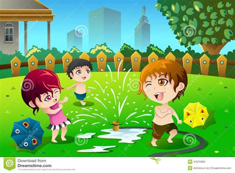 in the summer children with sprinkler water in the summer stock