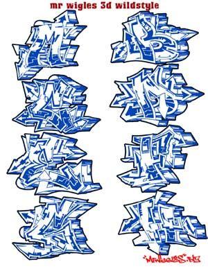 wildstyle graffiti alphabet  wigles  wildstyle