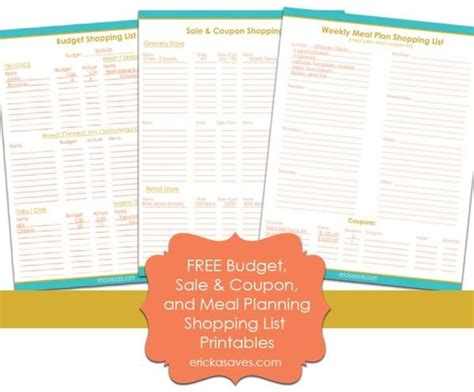printable budget shopping list free budget menu and coupon shopping list printables