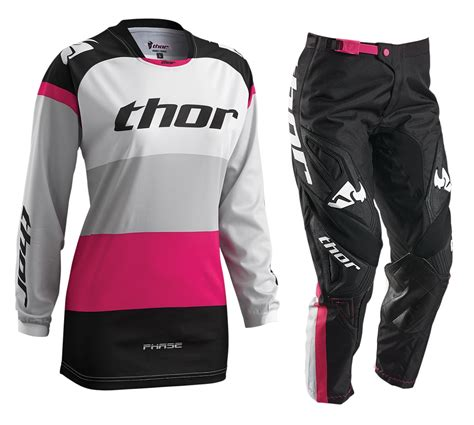 womens thor motocross gear thor mx phase bonnie black white pink motocross