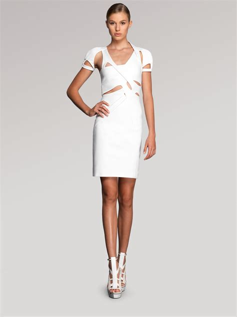 Dress Ss39129 Dress White lyst gucci cutout dress in white