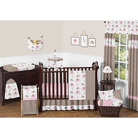 elephant nursery bedding sets sweet jojo designs mod elephant crib bedding collection in pink taupe buybuy baby