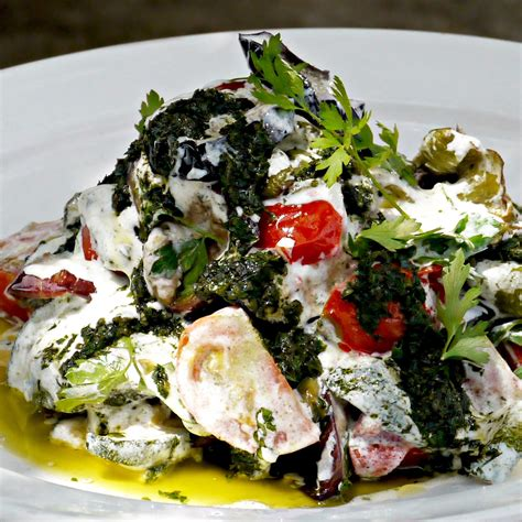 turkish style vegetables with yoghurt and green chilli oil