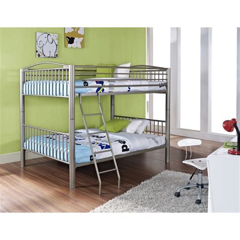 metal full over full bunk beds powell heavy metal full over full bunk bed in pewter 941 137
