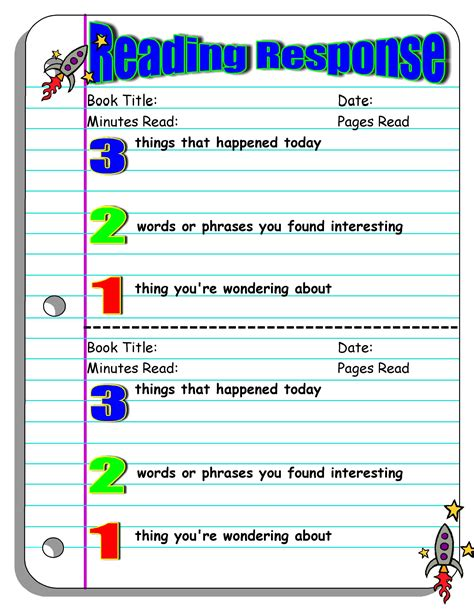 Reading Response Worksheets by Five Minute Reading Responses Scholastic