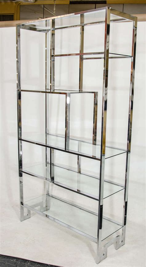 etagere 9 cases leclerc milo baughman chrome etagere for sale at 1stdibs