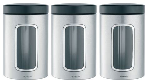 modern kitchen canisters brabantia window canister set of 3 modern kitchen