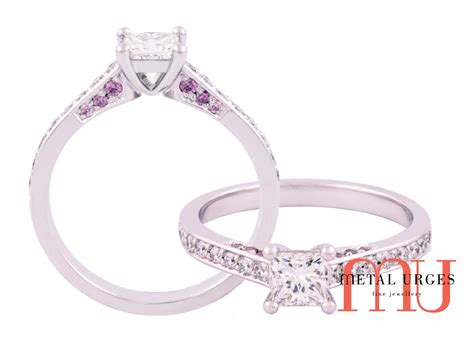 princess cut engagement ring with australian argyle pink