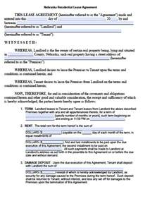 Residential Lease Agreement Template Free Nebraska Residential Lease Agreement Form Pdf Template