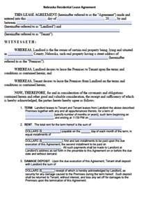 free nebraska residential lease agreement form pdf template