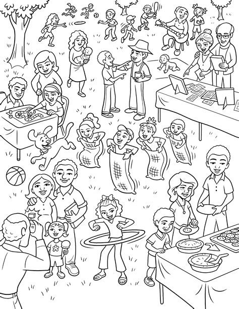 coloring page family reunion family reunion