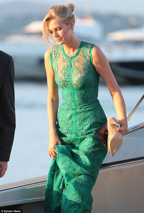 Green Tropez Gowv Dress toni garrn arrives with leonardo dicaprio to his charity