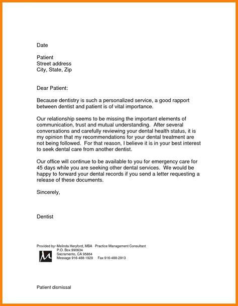 dental patient dismissal letter template availabel