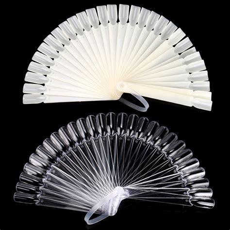32 pcs false nail fan board tips stick foldable
