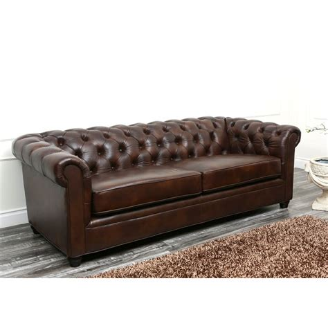 abbyson tuscan chesterfield brown leather sofa by abbyson