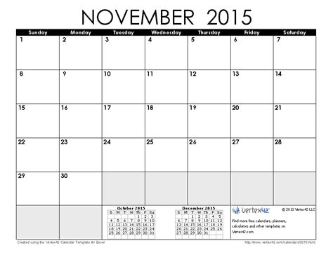 printable calendar november 2015 with holidays 2015 calendar templates and images