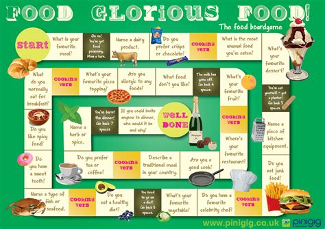 english game themes food glorious food the food board game for esl could