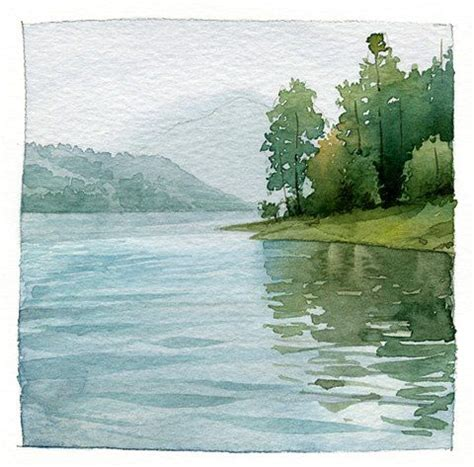 watercolor lake tutorial love this quot water quot color painting maybe done with a sunset