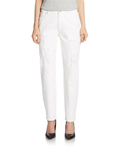 Fly Shoes Janice 4655 White elie tahari distressed boyfriend in white
