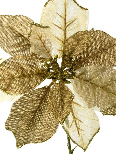 hessian gold poinsettia picks gold ivory organza poinsettia decorative 26cm decorations the