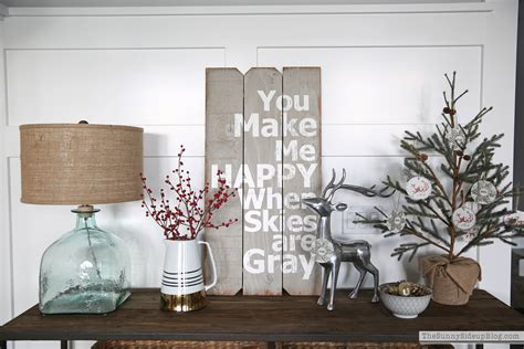 neutral christmas console table  sunny side  blog
