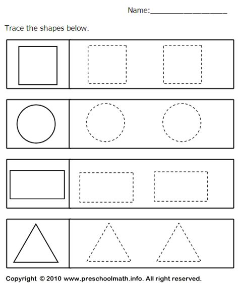 printable math worksheets shapes tracing shapes worksheets for preschool benderos