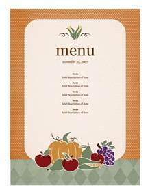 free menu template word