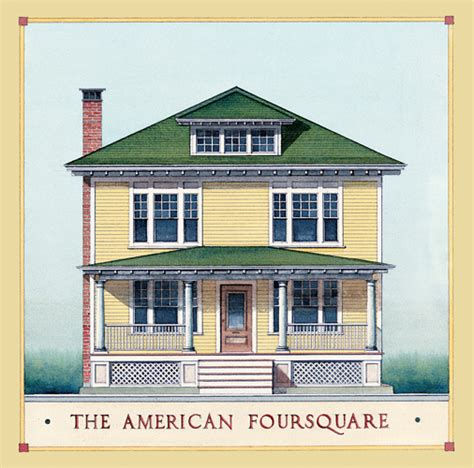 American Foursquare Architecture Interiors Old House 1913 American Foursquare House Plans