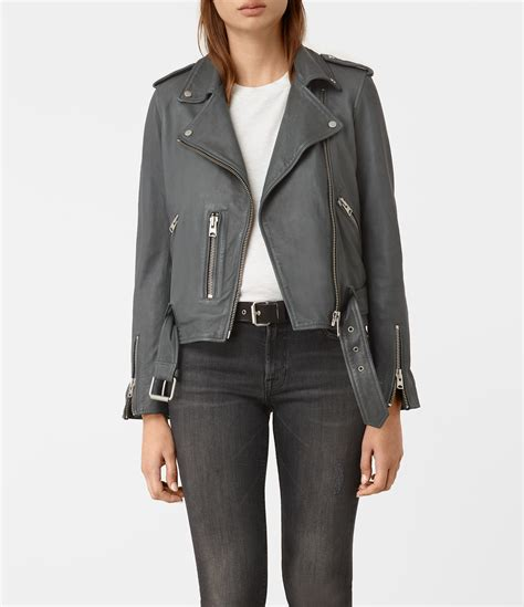 Allsaints Balfern Biker Jacket lyst allsaints balfern leather biker jacket usa usa in gray