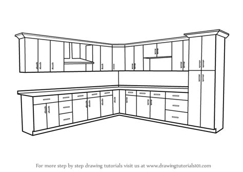how to draw a cabinet learn how to draw kitchen cabinets furniture by