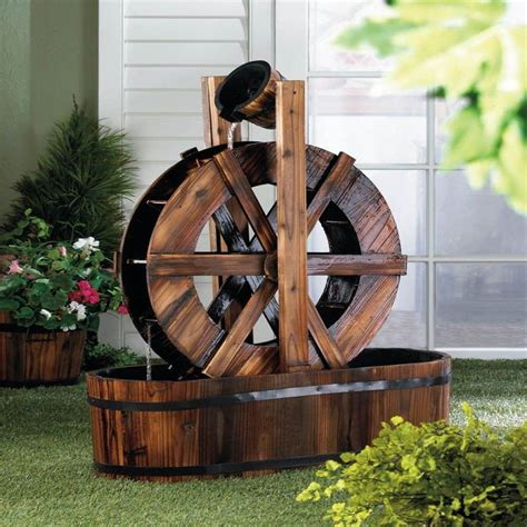 Wagon Wheel Decor Garden Spinning Wood Outdoor Water Mill P J Home And Garden Decor 1 House Ideas