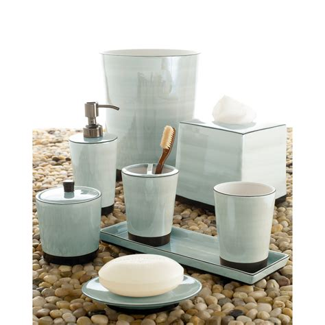 Bathroom Set by Kassatex Tribeka Bath Accessories Collection Seafoam