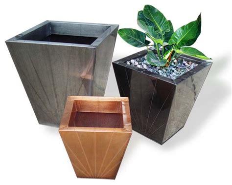 Exterior Flower Pots Zinc Flower Pots Asian Outdoor Pots And Planters By
